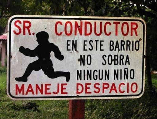 sr. conductor en este barrio no sobra ningún niño