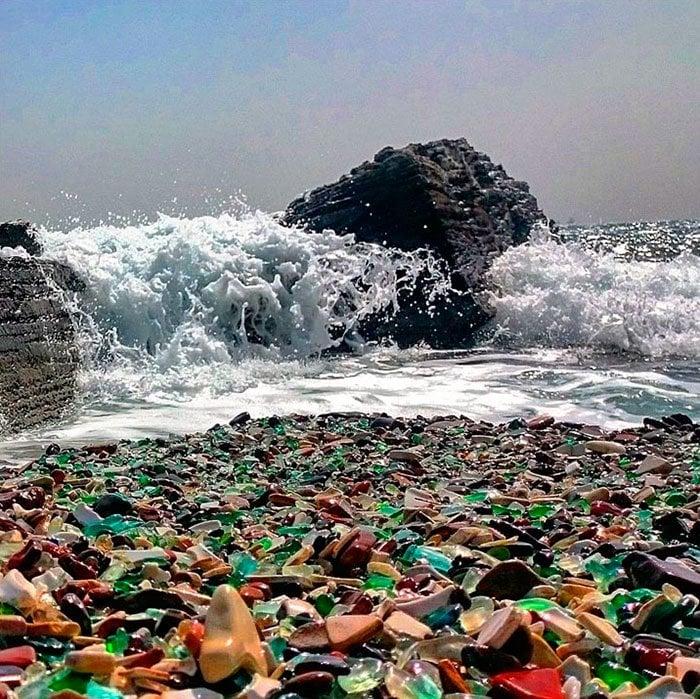 playa de cristal colores olas