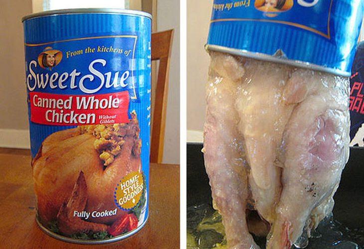 pollo entero enlatado