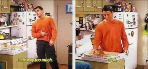 comi demasiado friends pizza