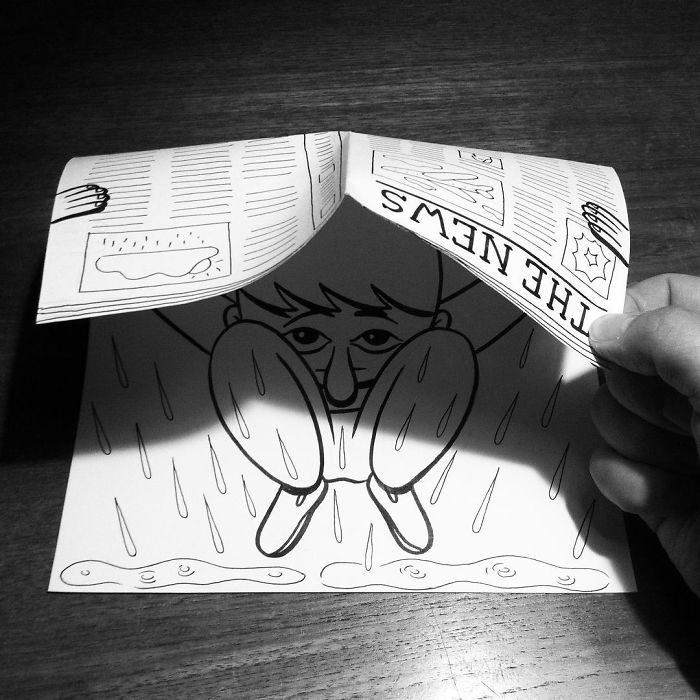 lluvia dibujo 3d papel