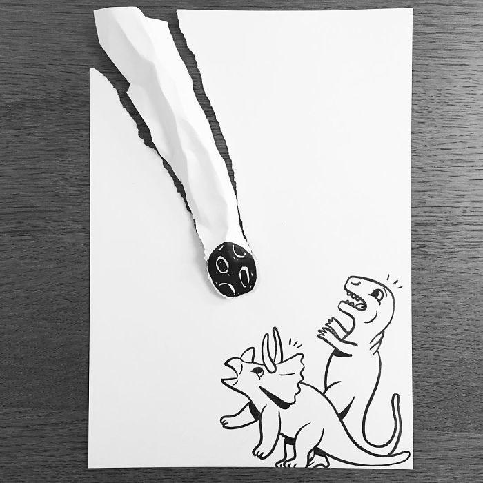 evolución dinosaurios big bang dibujo 3d papel