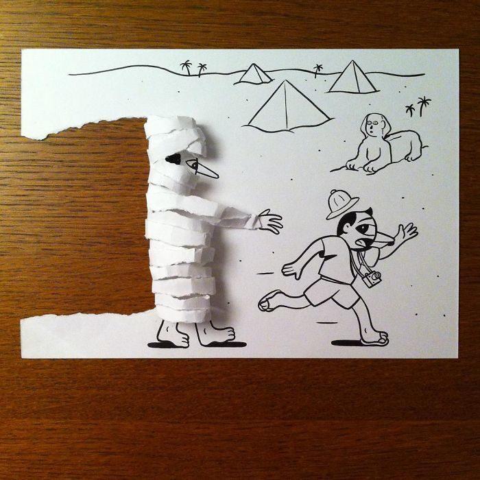 momia dibujo 3d papel