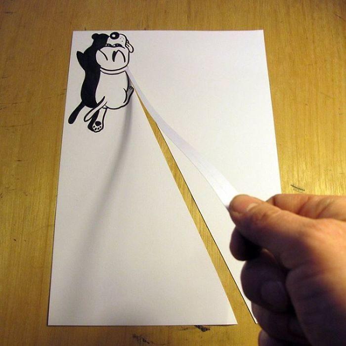 pasear perro dibujo 3d papel