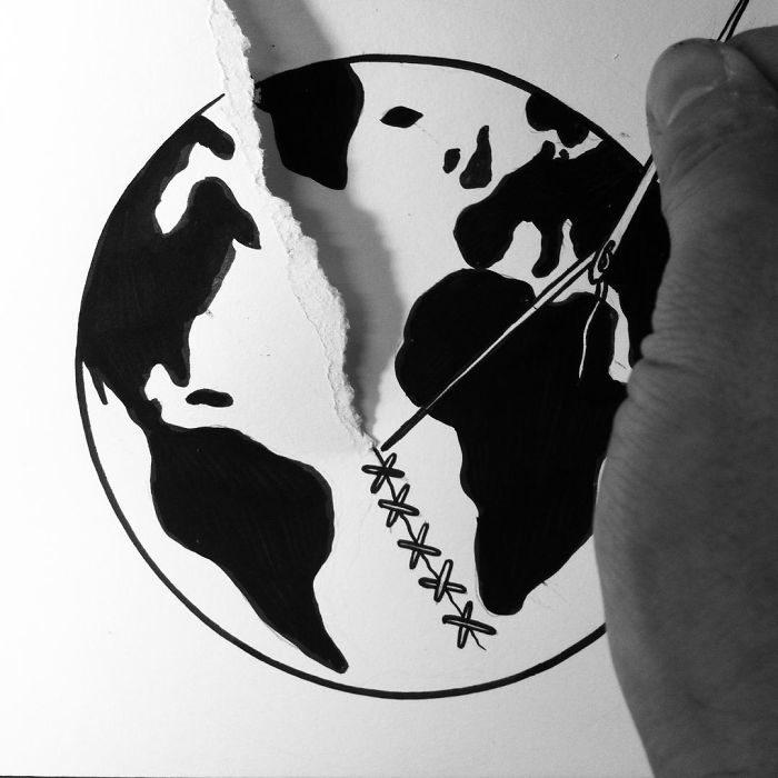 coser mundo dibujo 3d papel