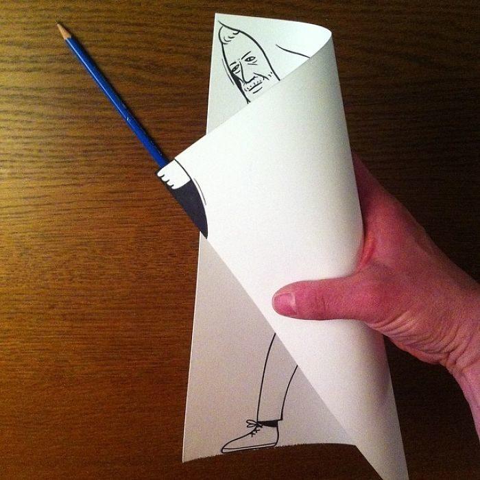 jedi dibujo 3d papel obi wan kenobi