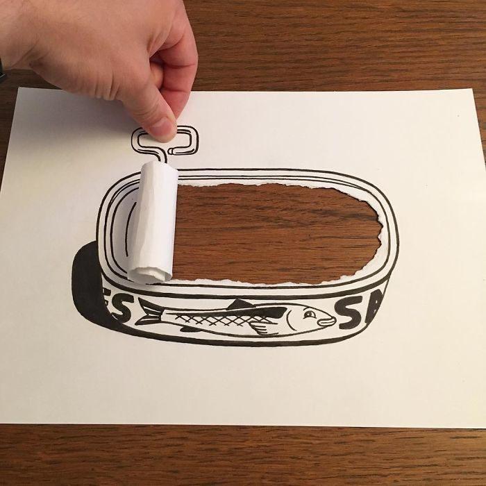 atún dibujo 3d papel