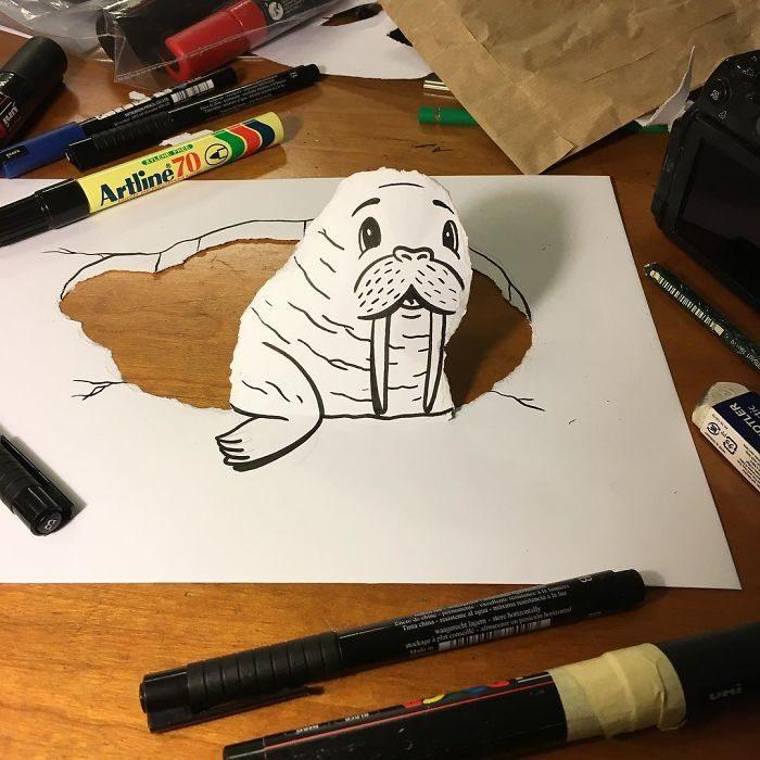 foca dibujo 3d papel