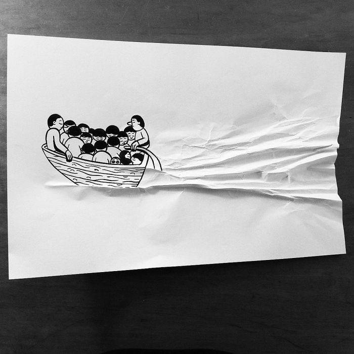 barco dibujo 3d papel