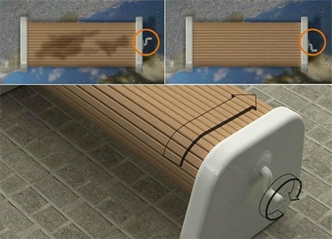 banco madera rotario diseño industrial