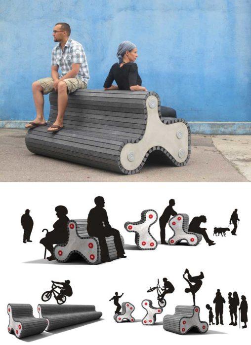 Asientos divertidos skate funcionales diseño