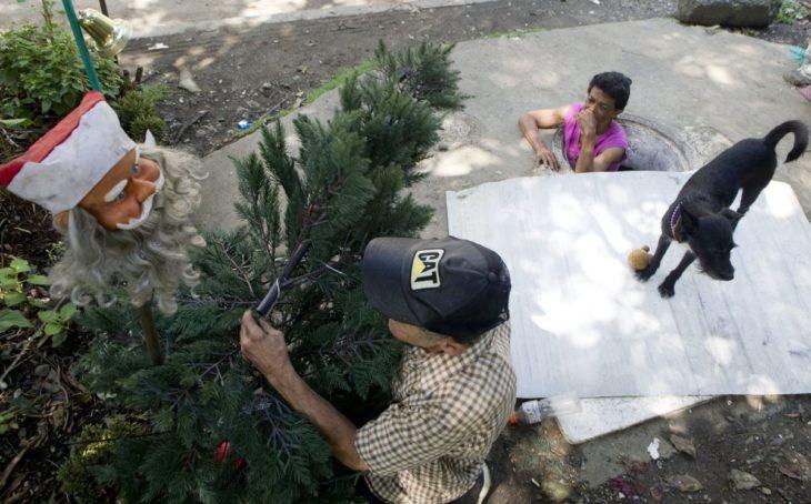 navidad árbol mujer vive en una alcantarilla con su esposo
