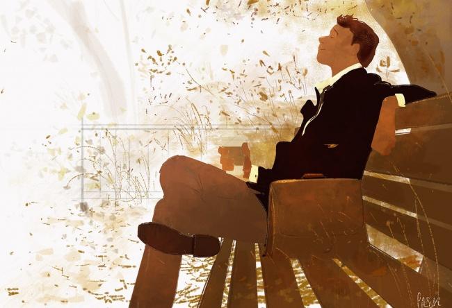 ilustración felicidad banca sentado aire libre