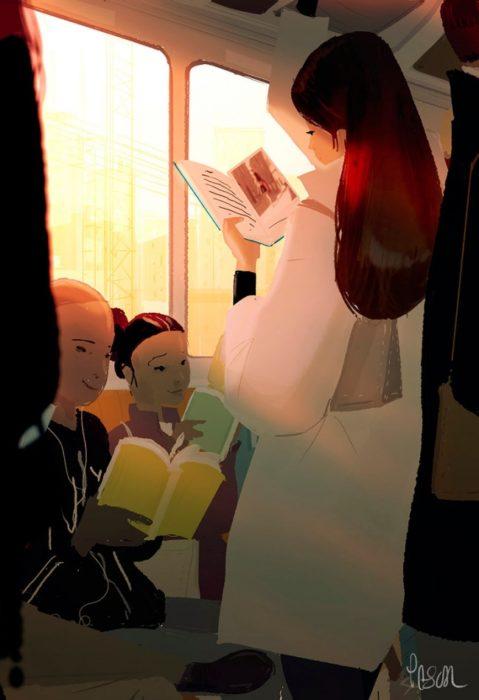 libro autobús ilustración felicidad