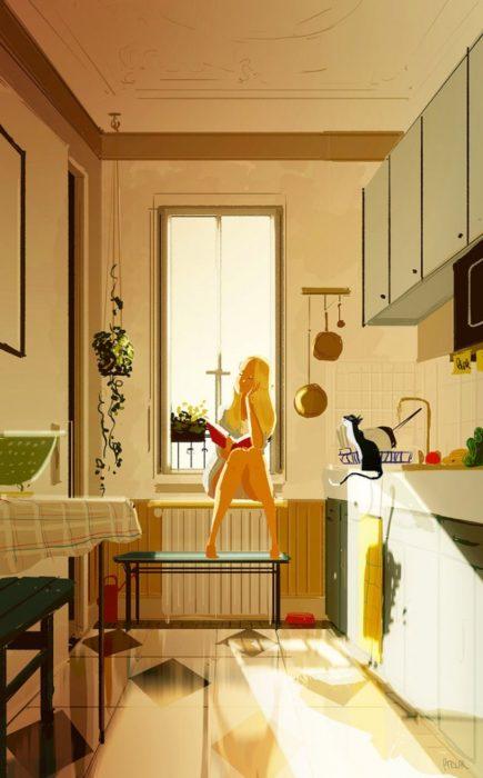 mujer leyendo viendo fotos ilustración felicidad