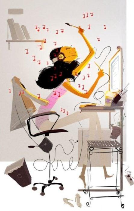 ilustración felicidad música oficina
