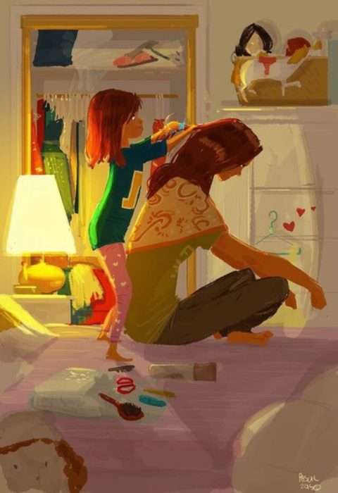 peindado niña ilustración felicidad