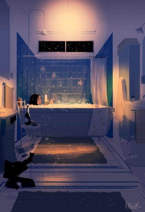 baño relajado ilustración felicidad