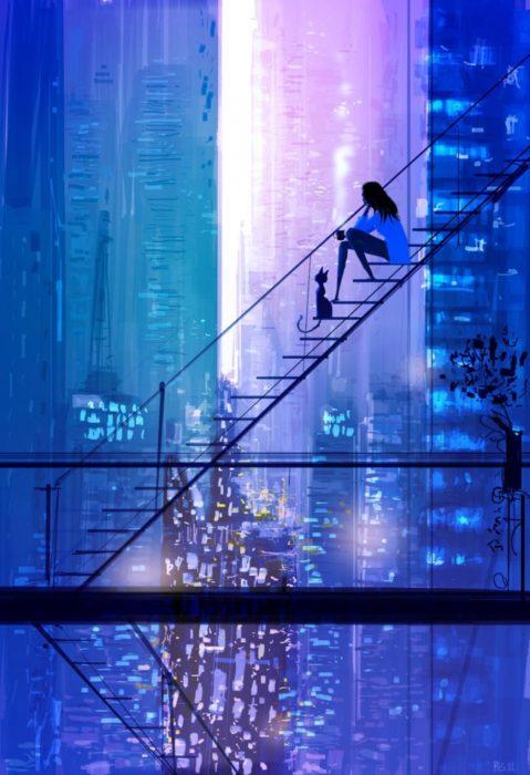 luces ciudad ilustración felicidad
