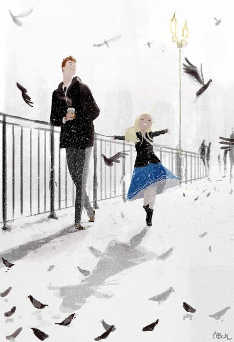 ilustración felicidad niña feliz palomas