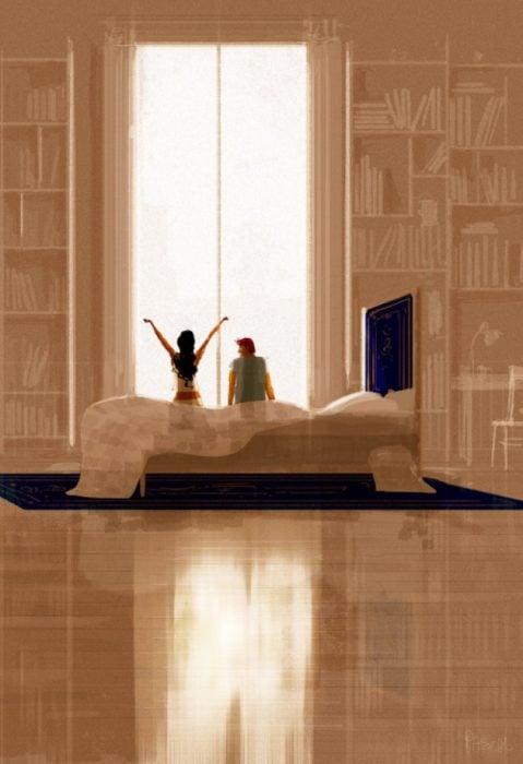 ilustración felicidad amanecer