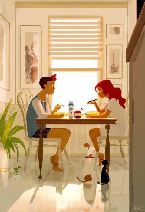 ilustración felicidad desayuno