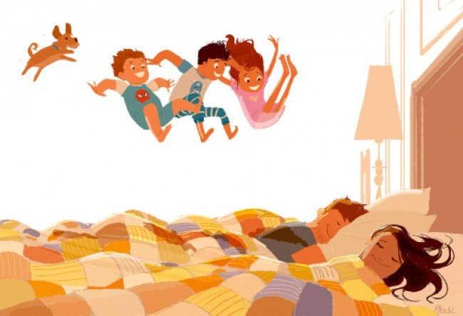 ilustración felicidad brinco cama niños familia