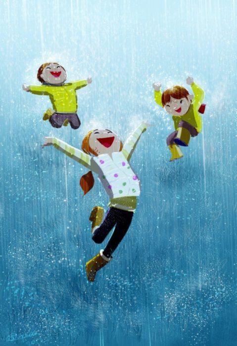 ilustración felicidad lluvia felicidad
