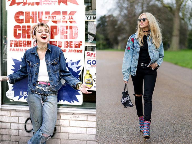 chamarra de mezclilla moda de los 80s