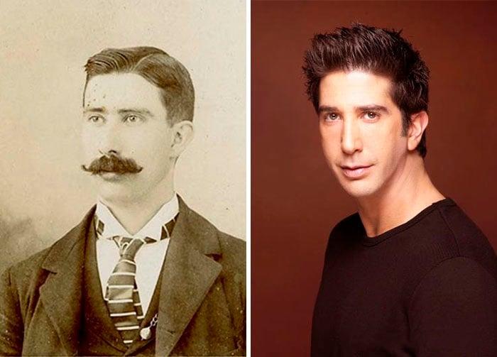 david schwimmer con bigote en foto antigua