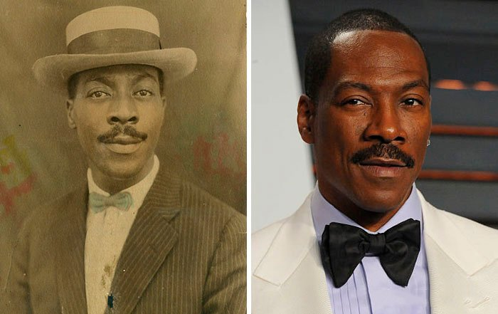 comparación de un hombre en los años 40's con eddie