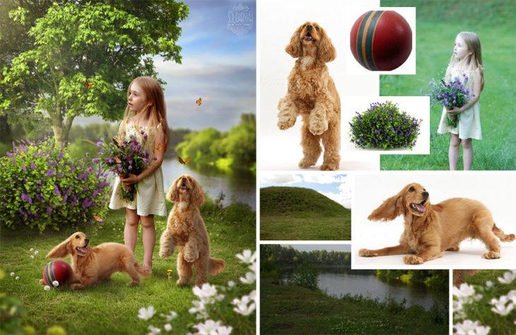 perritos niña Photoshop qué hay detrás edición
