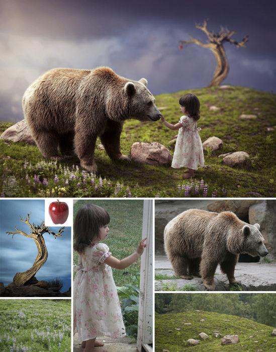 oso niña Photoshop qué hay detrás edición