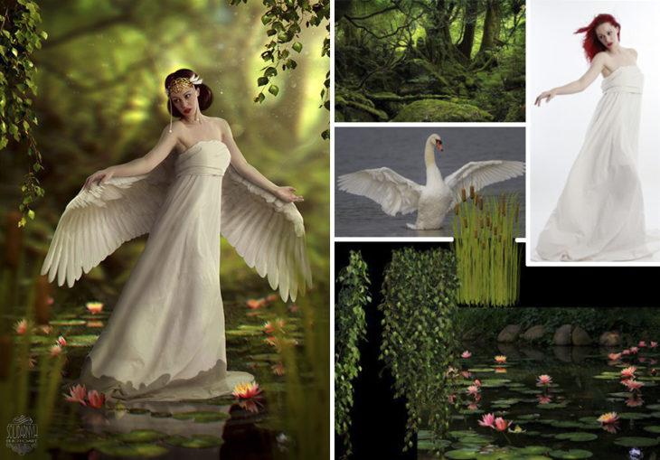 cisne blanco Photoshop qué hay detrás edición mujer