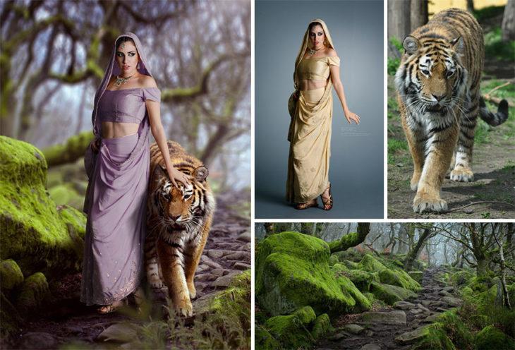 tigre jazmin Photoshop qué hay detrás edición