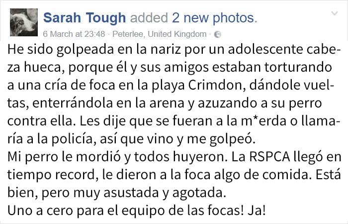 post en facebook chica golpeada por unos chicos que agredían a una foca
