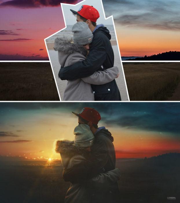 Artista ruso PS - pareja abrazada