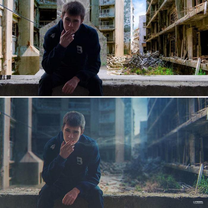 Artista ruso PS - chico fumando