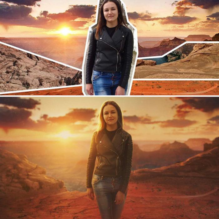 Artista ruso PS - mujer caminando desierto
