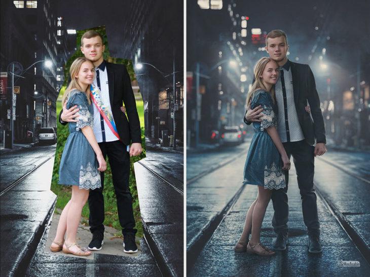 Artista ruso PS - novios en medio de la ciudad