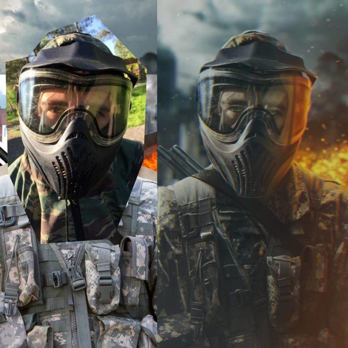 Artista ruso PS - hombre guerra