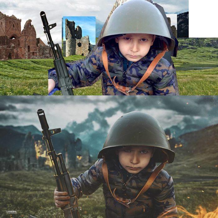 Artista ruso PS - niño guerra