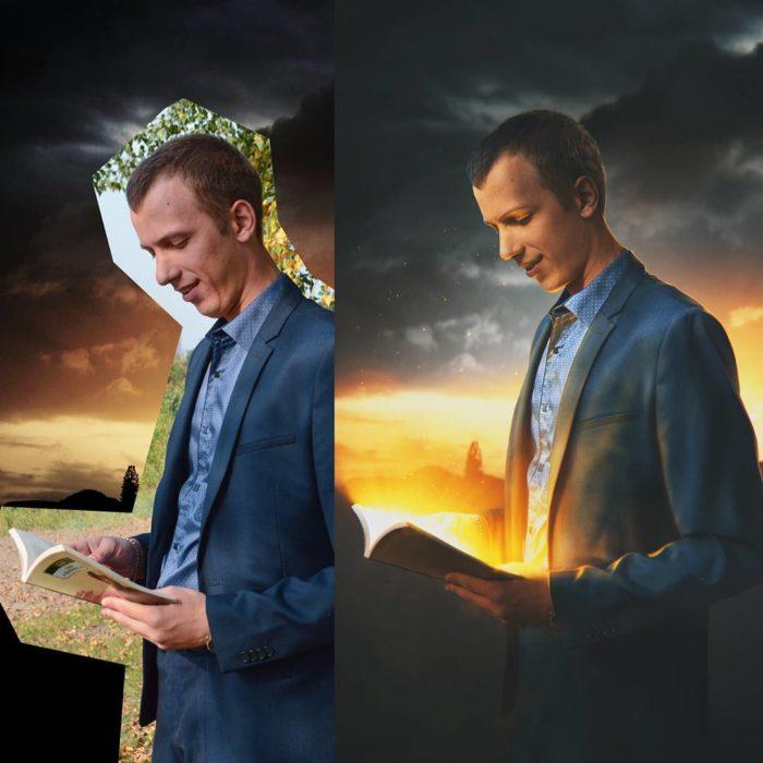 Artista ruso PS - hombre leyendo
