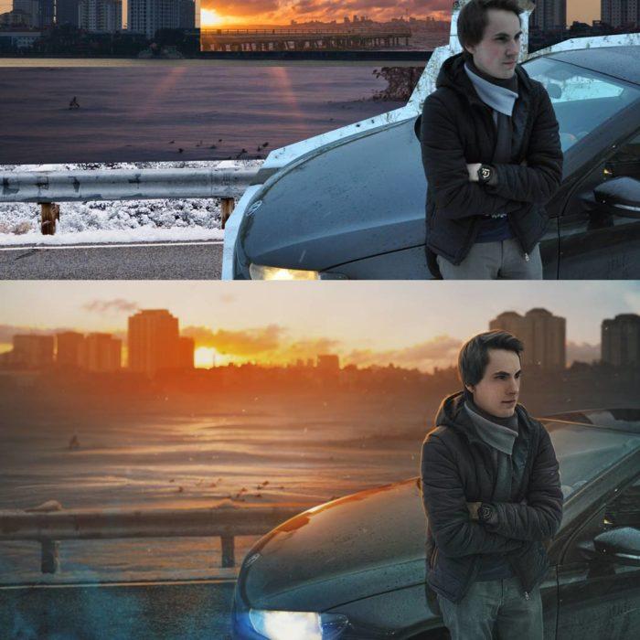 Artista ruso PS - hombre recargado en coche