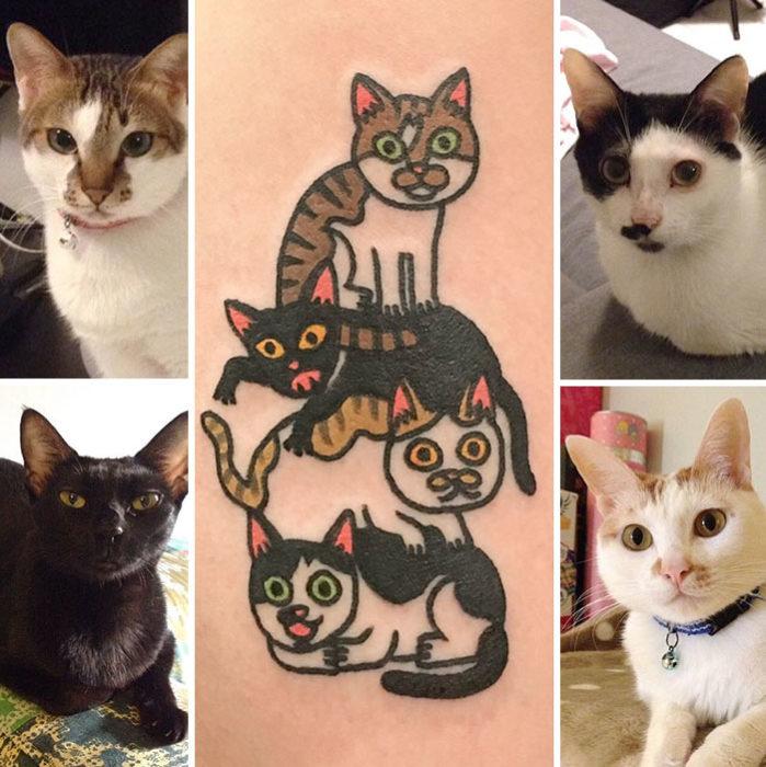 tatuaje 4 gatos