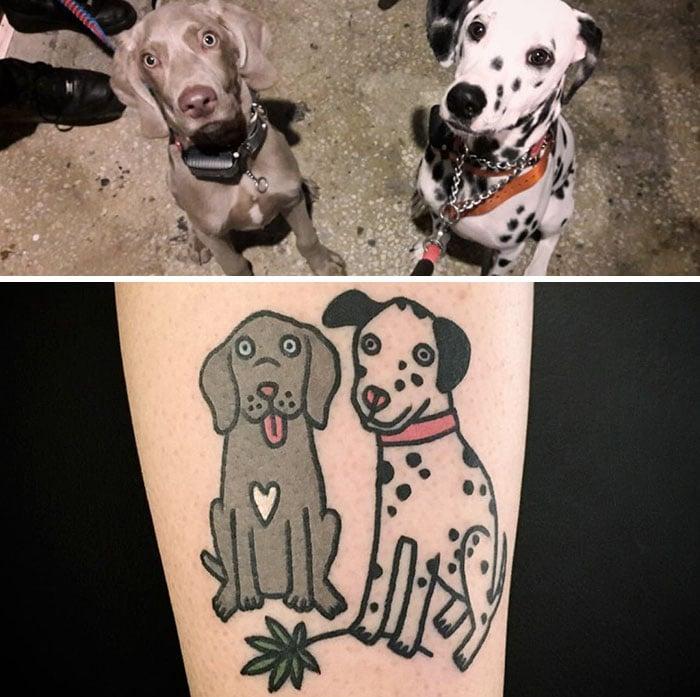 perro gris y dalmata tatuaje