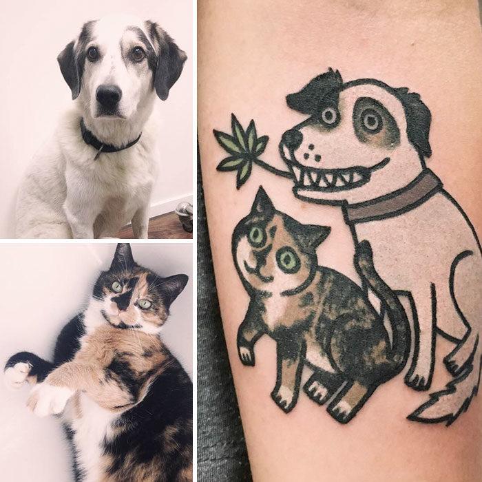 perro y gato tatuaje