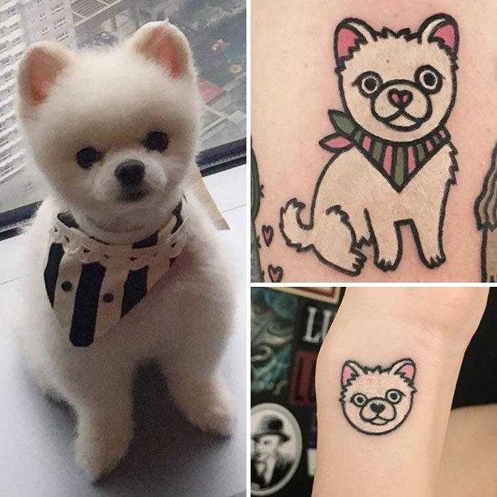 perro blanco pomeriano tatuaje