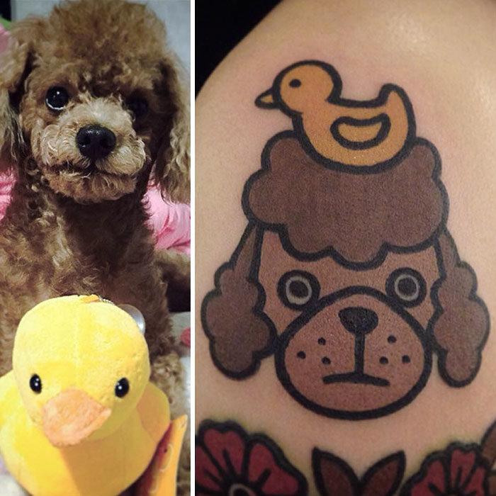 perro y su patito de juguete tatuaje
