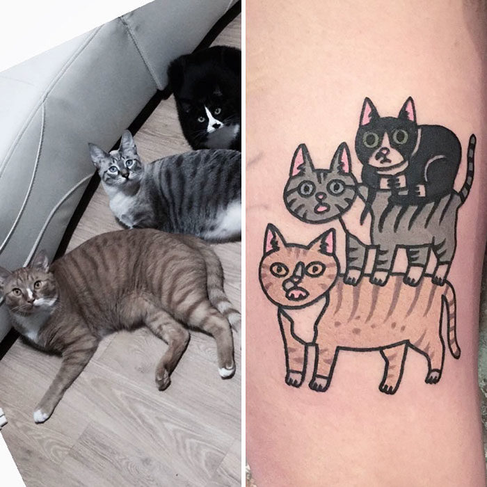 tres gatos uno sobre otro tatuaje